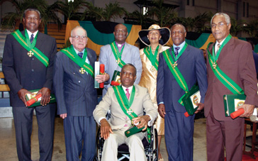 Keble Munn, second from left, on the occasion of receiving the Order of Jamaica, Nov.4, 2007